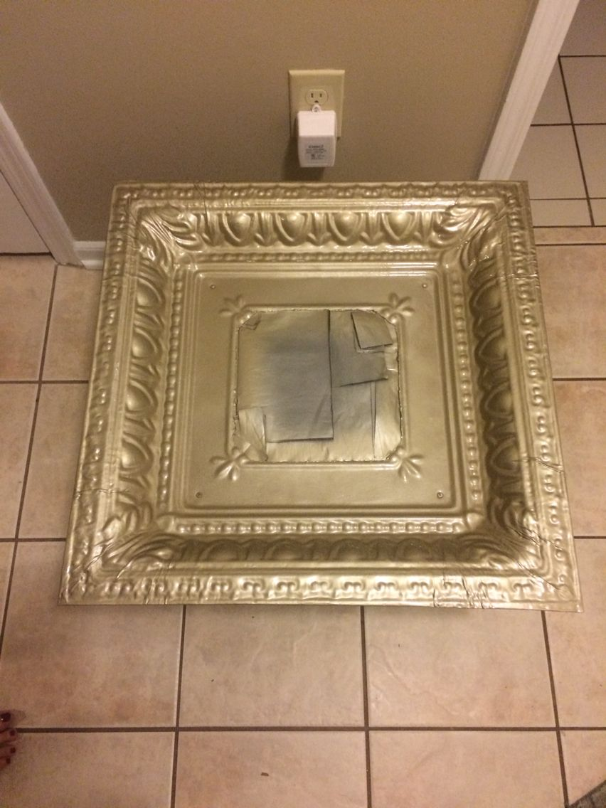 Spray painting tin ceiling tiles energywarden mirror frame that was originally a brownish black tin ceiling tile paint for ceiling tiles water damage black spray dailygadgetfo Images