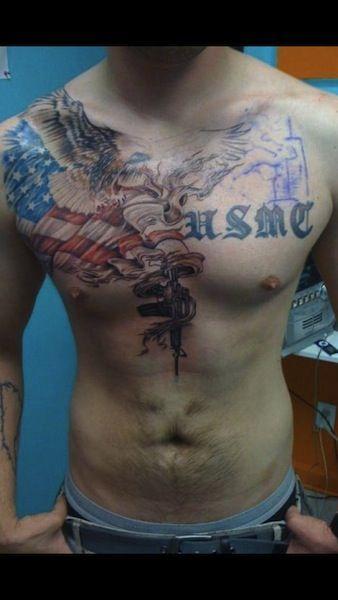 Usmc Tattoo Chest large on chest | usmc ...