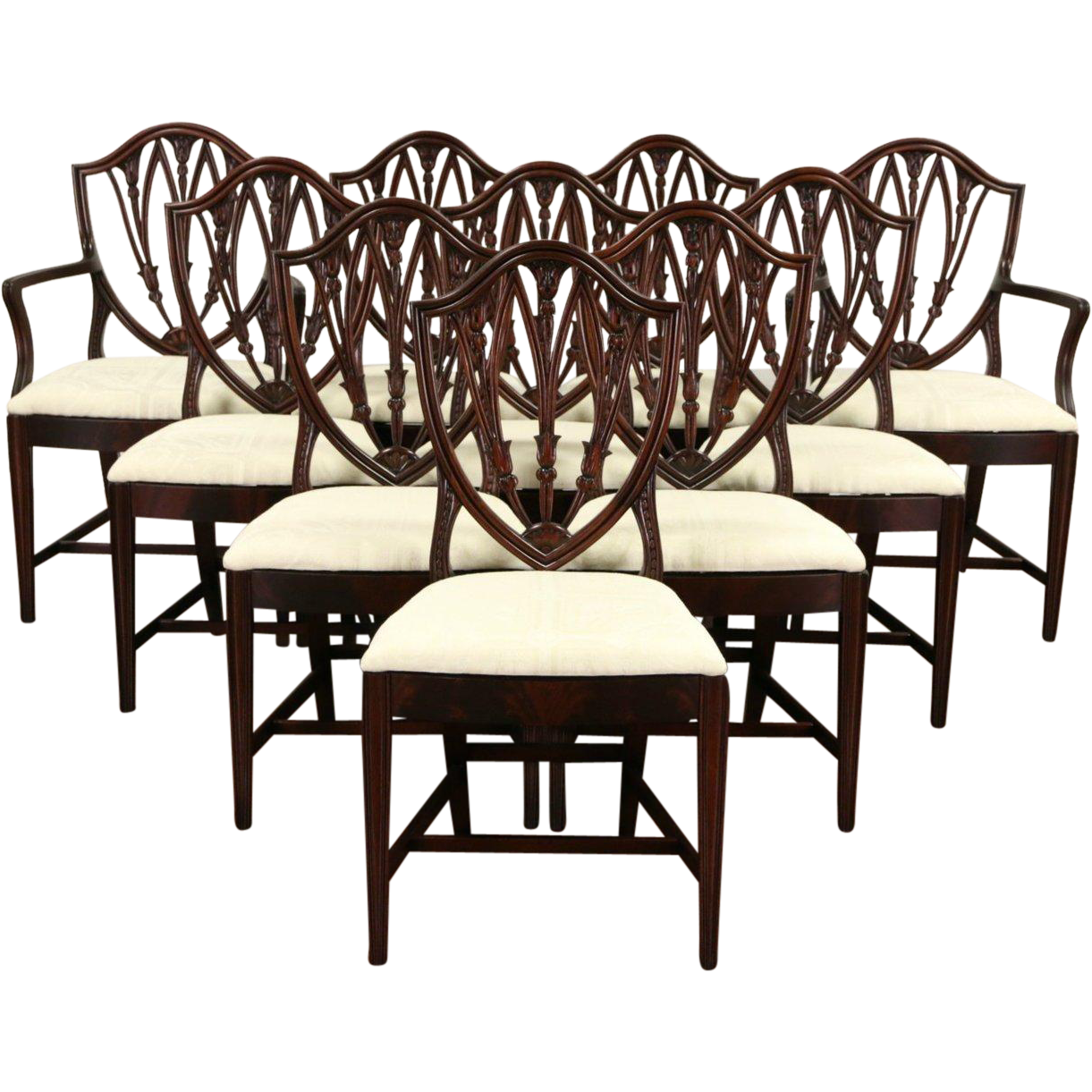 Antique Mahogany Dining Room Furniture: Set Of 10 Shield Back 1940 Vintage Mahogany Dining Chairs