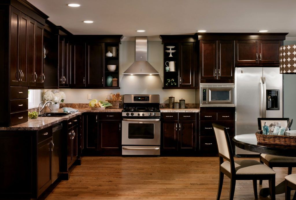 Kitchen Dark Cabinets Light Wood Floors