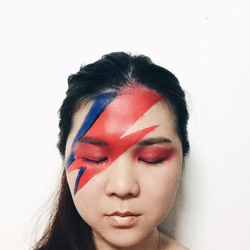 Piled more makeup on top of my end-of-day makeup to create this #ZiggyStardust look. RIP #DavidBowie.  I used: imagic flash palette @urbandecaycosmetics e/s in Slowburn Savage Urban Gonzo @sugarpill e/s in Love @newyorkcolor liquid liner @anastasiabeverly