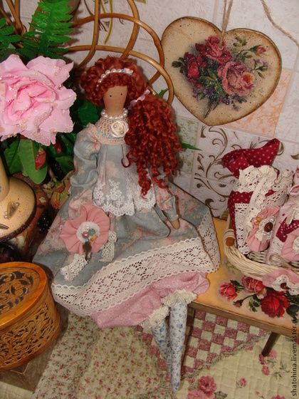 Куклы Тильды ручной работы. Ярмарка Мастеров - ручная работа Будуарная интерьерная кукла шебби-шик (по мотивам Тильда). Handmade.