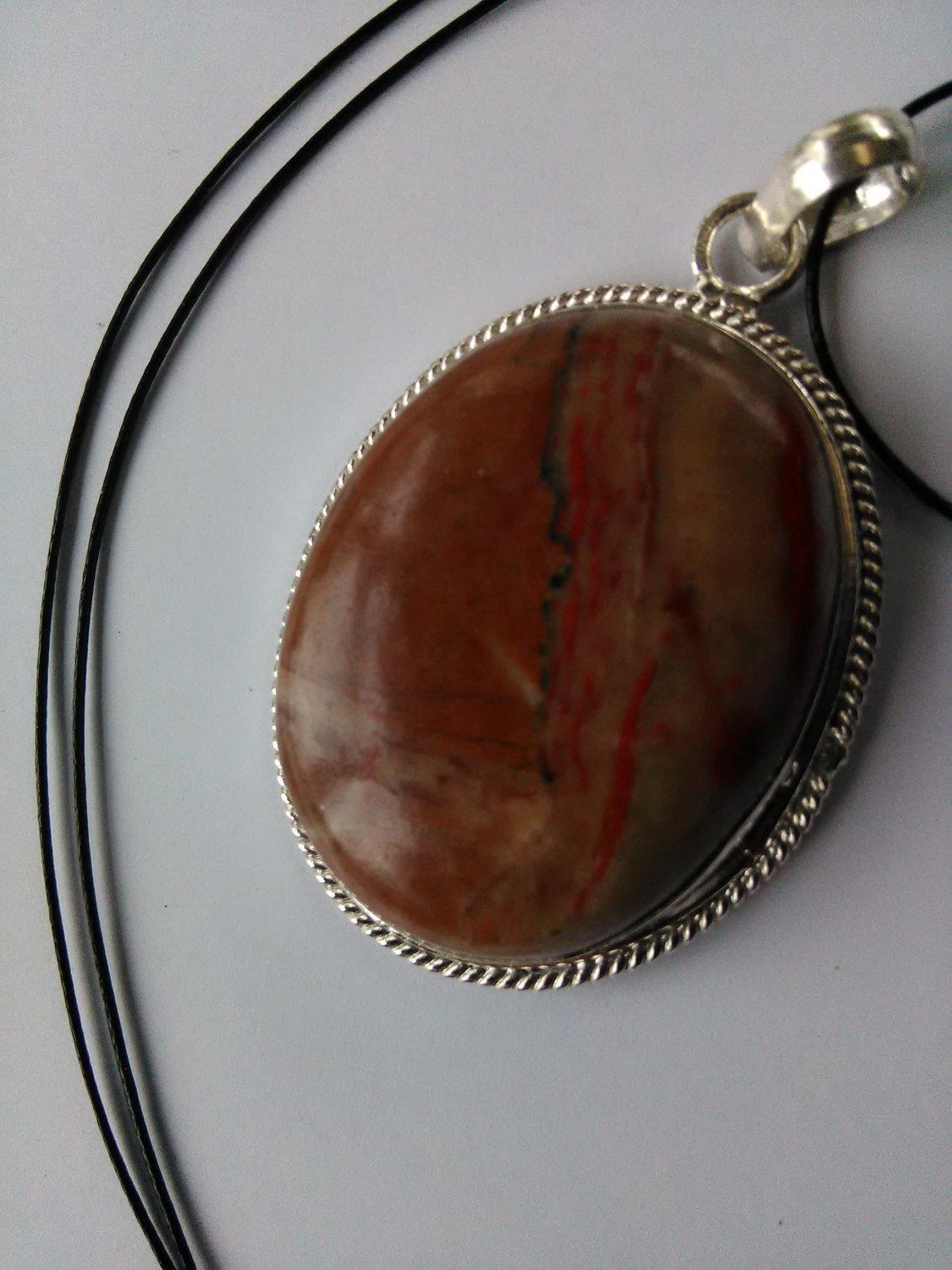 Red jasper pendant natural stone in silver bezel on 925 sterling red jasper pendant natural stone in silver bezel on 925 sterling silver chain gift wrapped for aloadofball Image collections