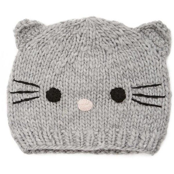 Forever21 Cat Face Beanie ( 9.90) ❤ liked on Polyvore featuring  accessories 27c77e8ca08c