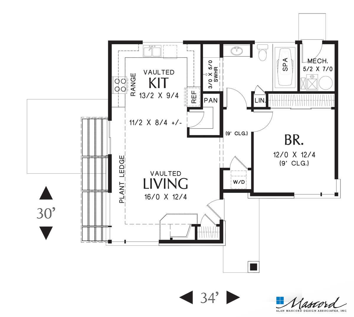 Main Floor Plan Of Mascord Plan 1166 The Dunland Single Bedroom Compact Contemporary Home Ideal For Bea Modern House Plans Coastal House Plans House Plans