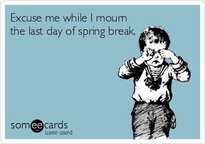 Excuse Me While I Mourn The Last Day Of Spring Break Teacher Humor Classroom Humor Teaching Humor