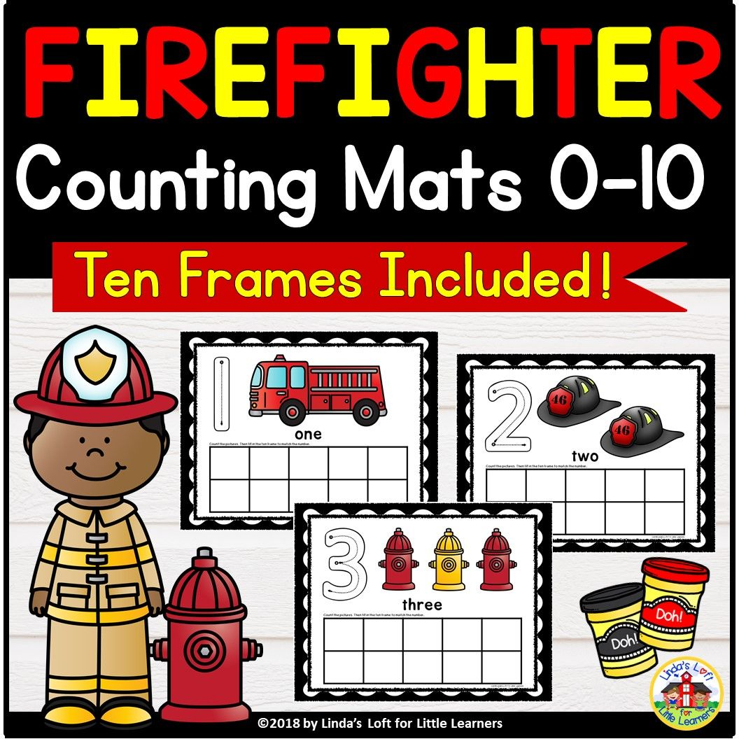 Community Helpers Firefighter Counting Mats And Ten