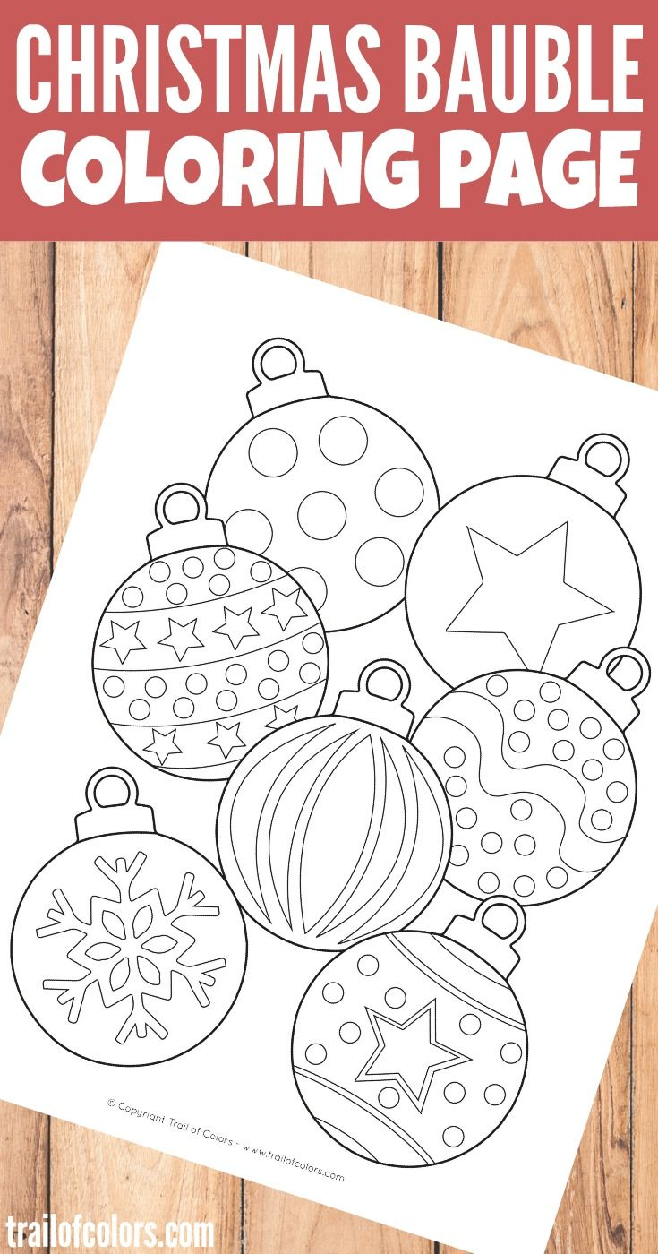 Christmas Bauble Coloring Page for Kids | Kids learning activities ...