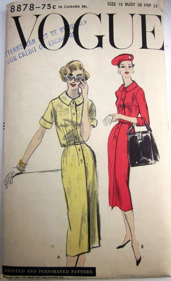 Vintage 1950s Vogue 8878 Womens Slim Dress Pattern by Denisecraft ...