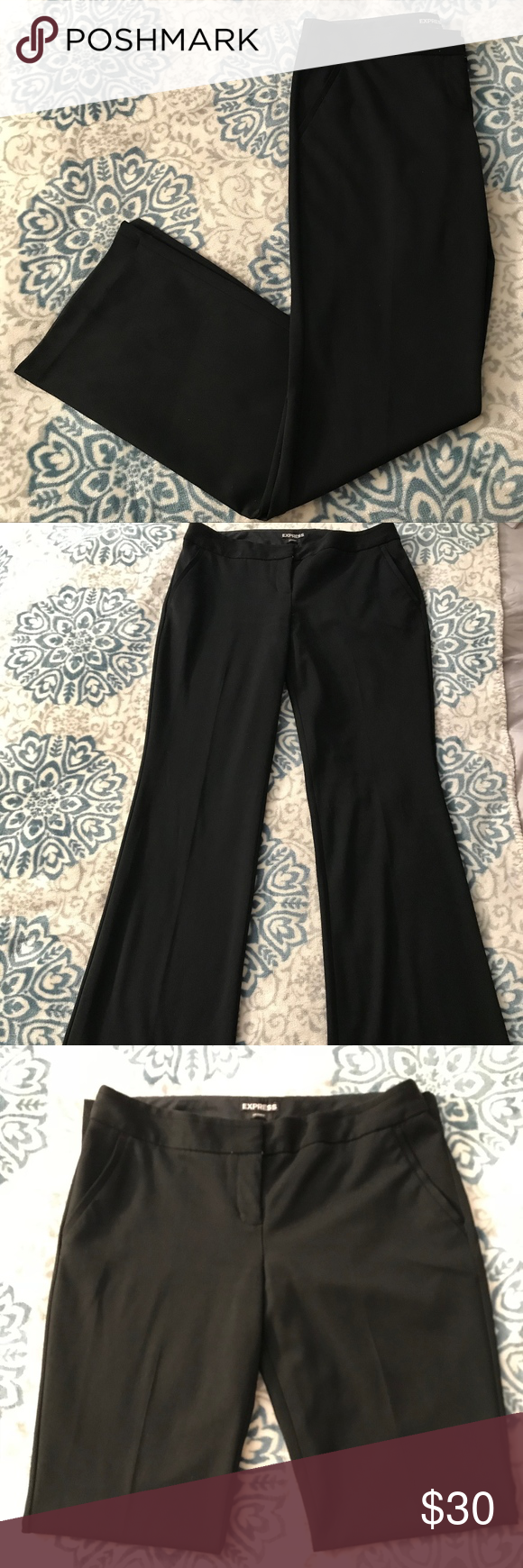 Express Mid Rise Barely Boot Columnist Pants Express Black Mid Rise Barely Boot Columnist Pants. In good condition. I loved these pants but unfortunately they no longer fit me. Plenty of life left in them! Express Pants