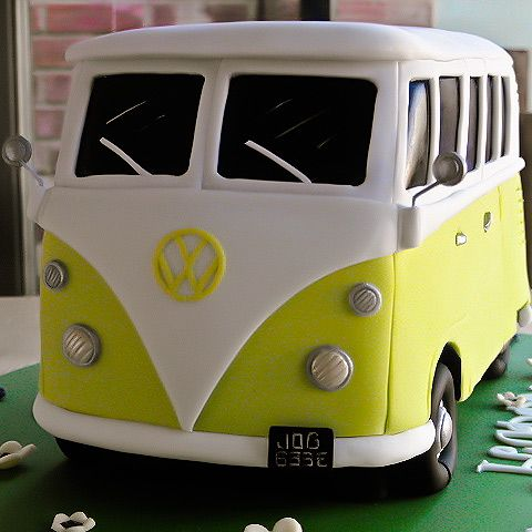 Lime Green VW Camper Van Birthday Cake with Split Screen - Amanda Macleod