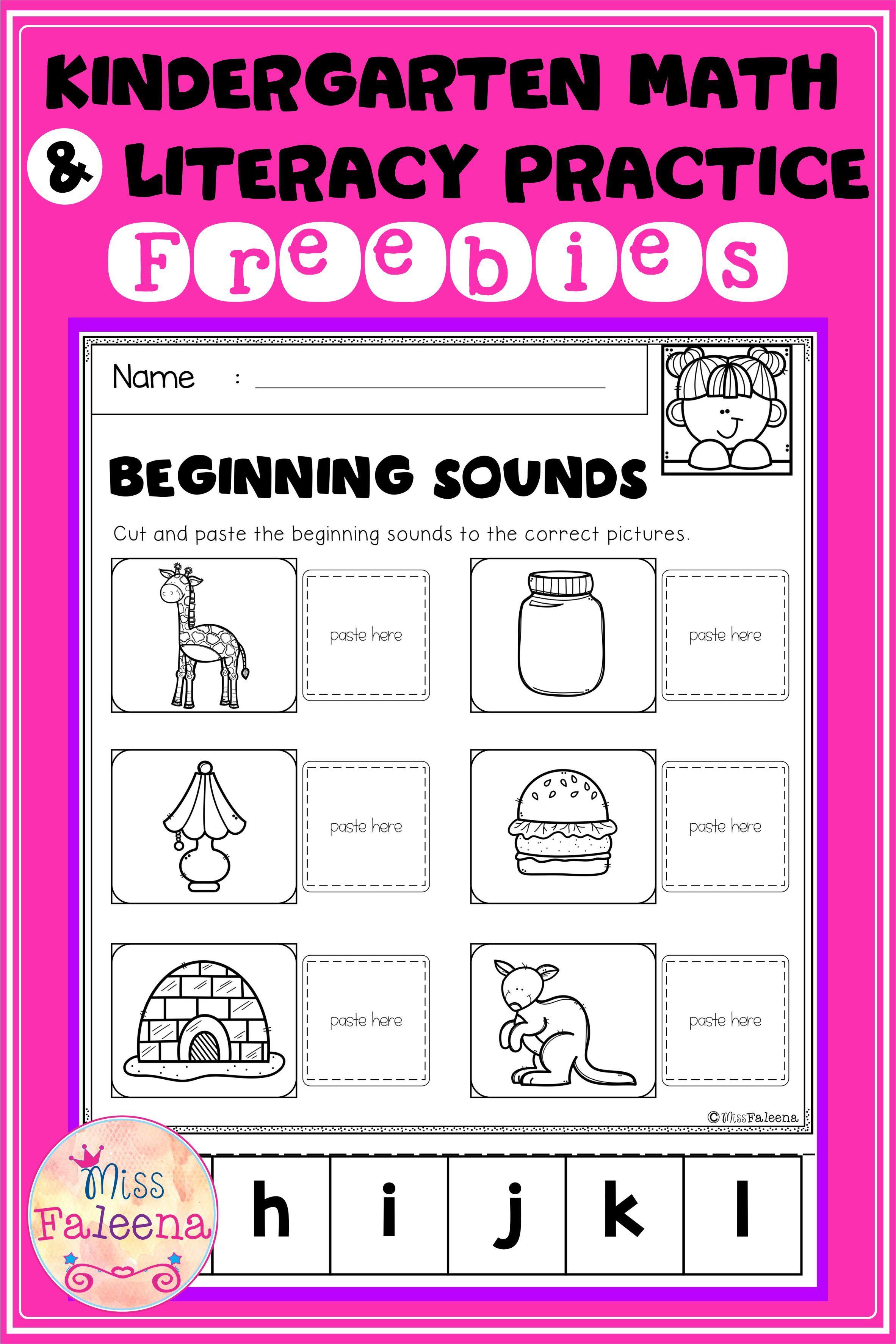 Free Kindergarten Math And Literacy Practice Di