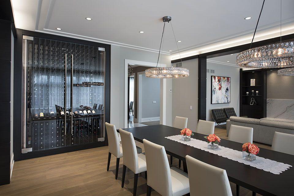 Custom Wine Cellar Dining Room Table Refrigerated