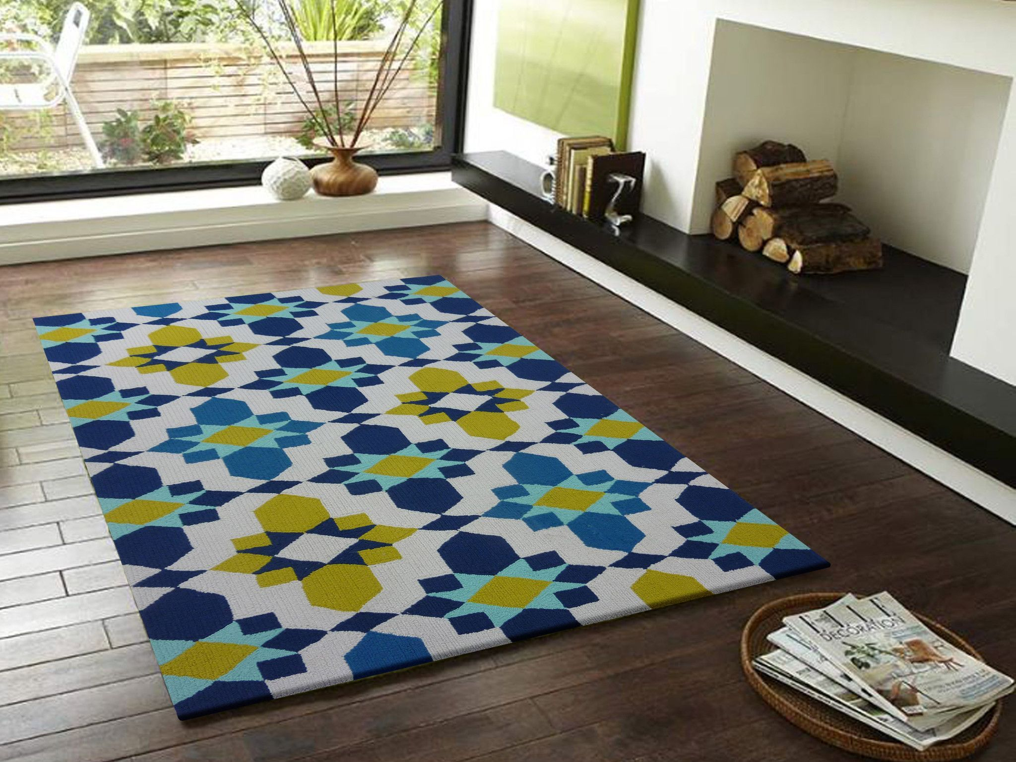 Contemporary Vibrant Blue With Yellow Area Rug Color Living Rugs