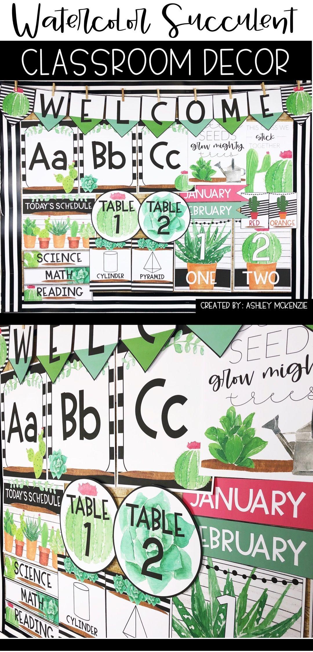 Watercolorsucculentclassroom Classroomthemes Elementarydecor