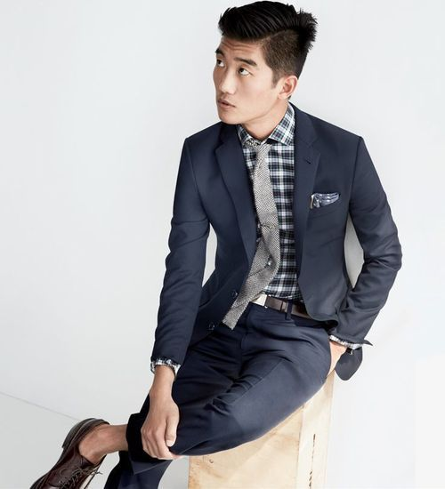 Some of my favorites // navy suit, grey knit tie, no socks, pocket square, plaid shirt