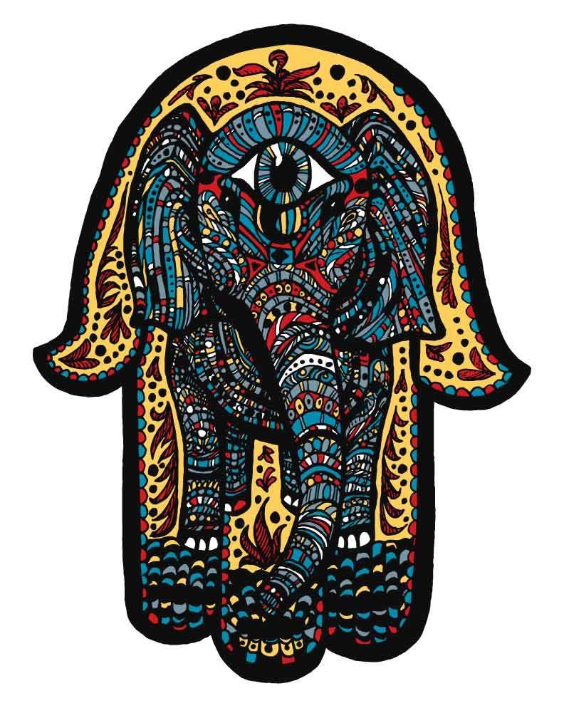 Elephant hamsa lotus print from original pen and ink by for Hamsa elephant tattoo