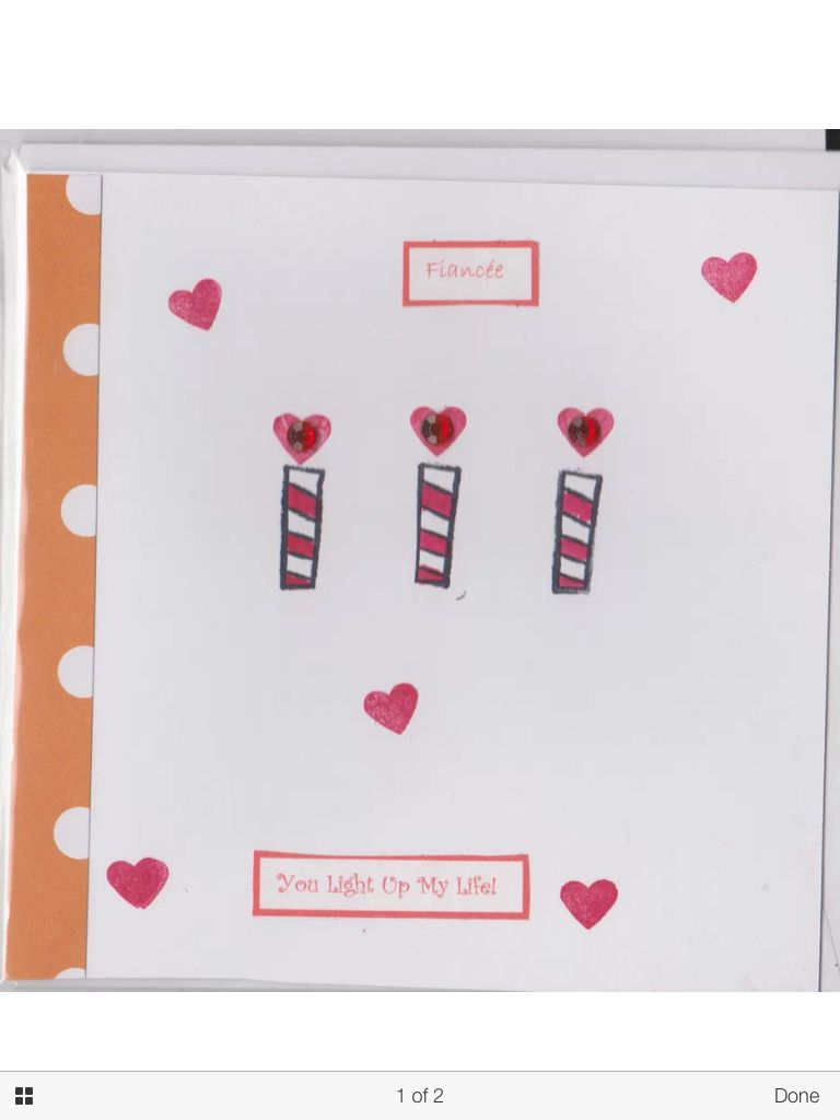 Fiancee Candle and Gem Valentine's card with matching envelope