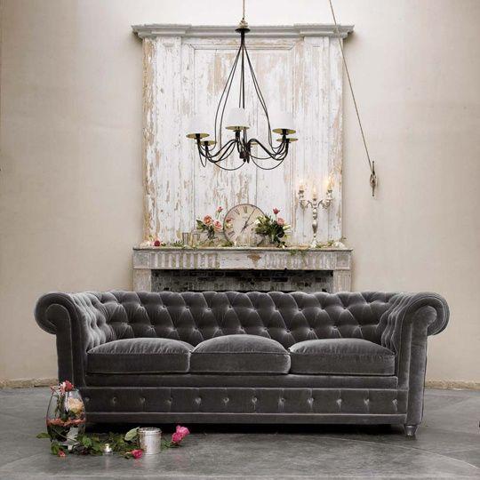 Love This Opulent Gray Velvet Sofa! Gray Velvet Chesterfield Sofa From  Maison Dumonde
