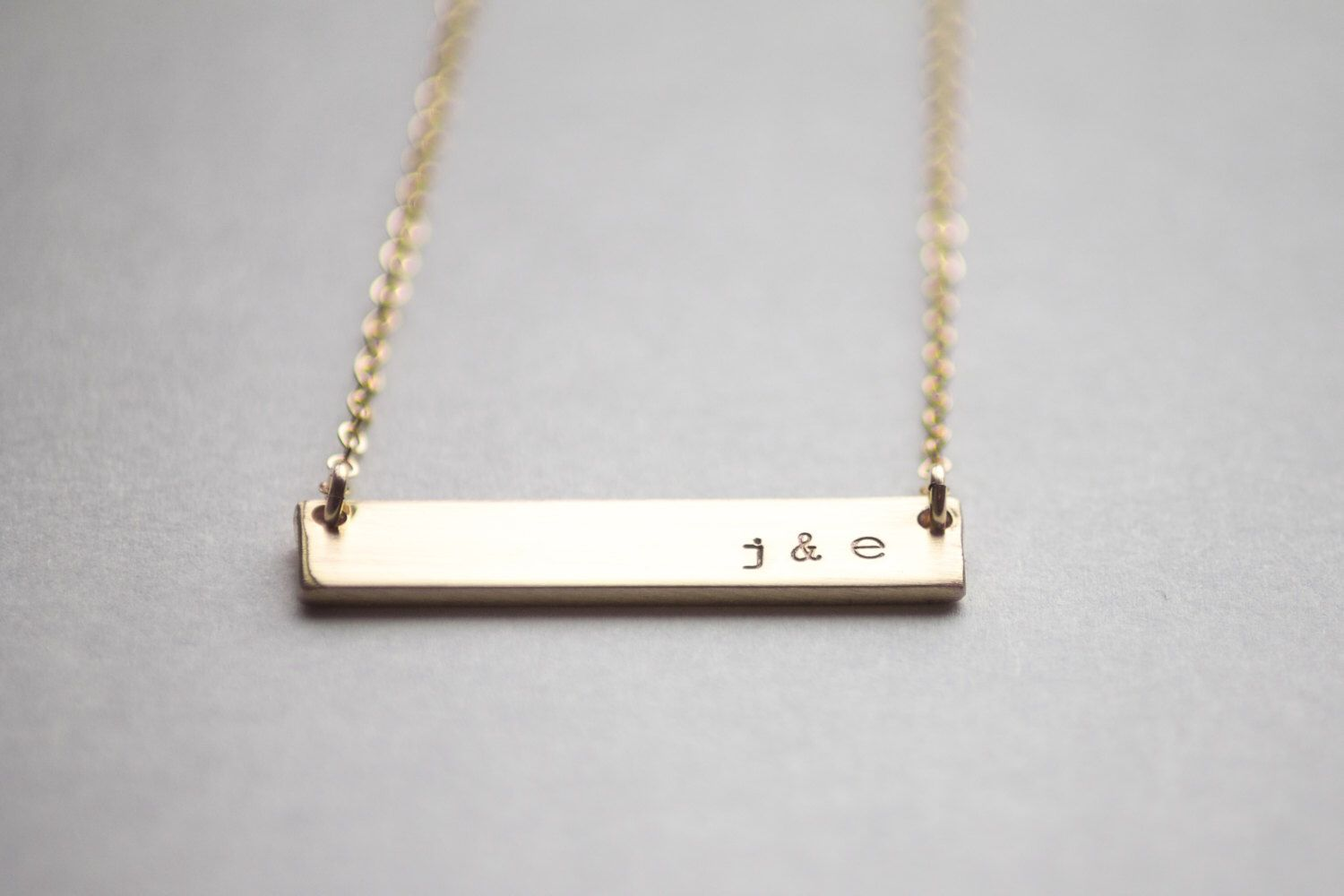 Double Sided Gold Bar Necklace 14k Gold Fill Reversible Hand