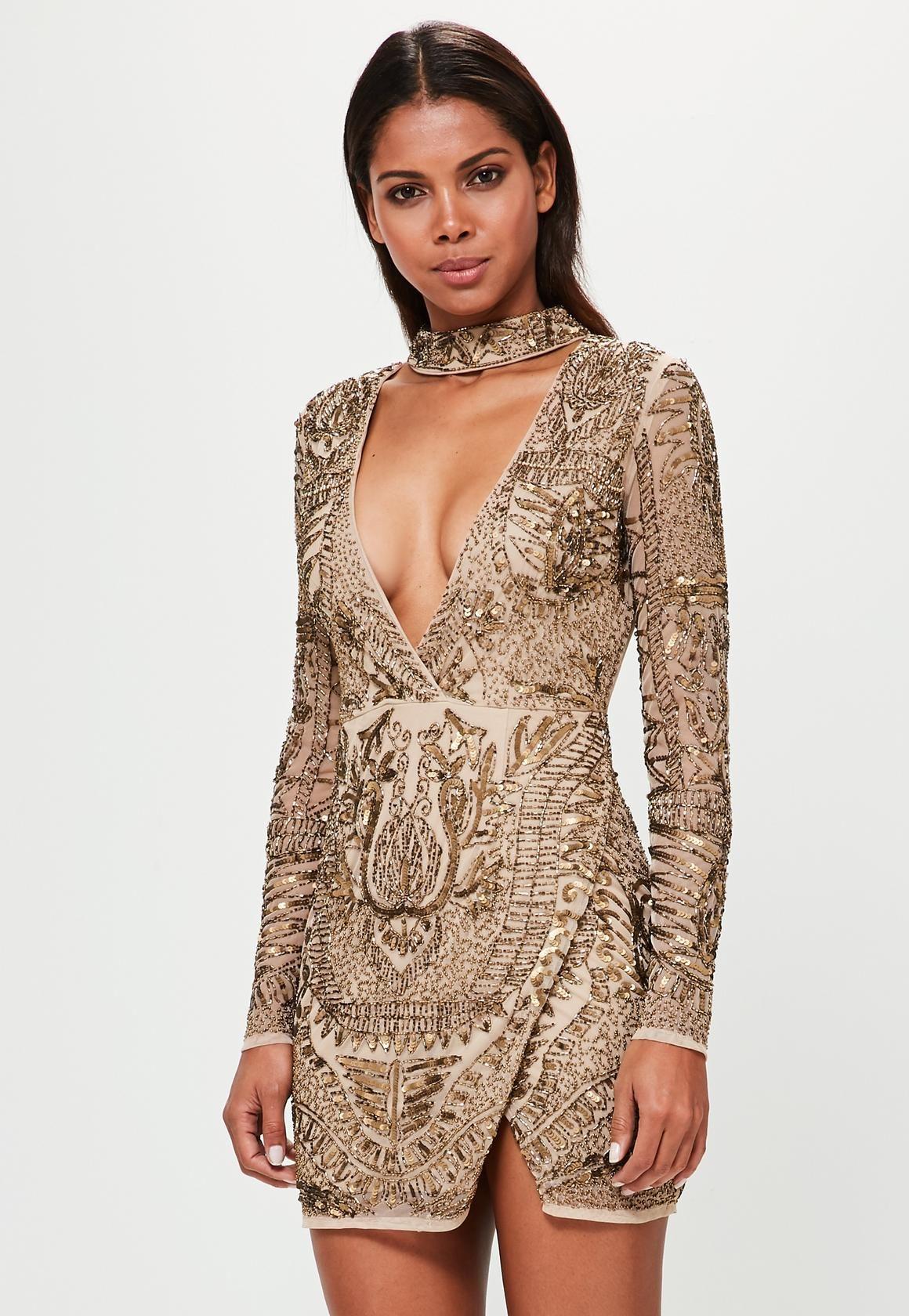 Missguided - Peace Love Bronze Choker Neck Embellished Wrap Dress ... 57848f50e