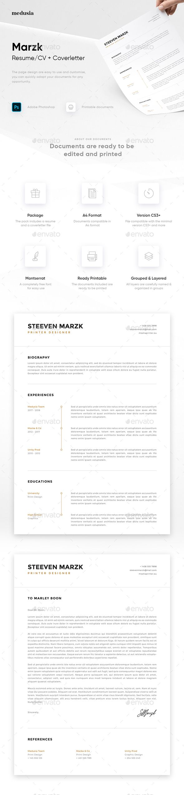 Marzk Resume/Coverletter Resumes Stationery Cover