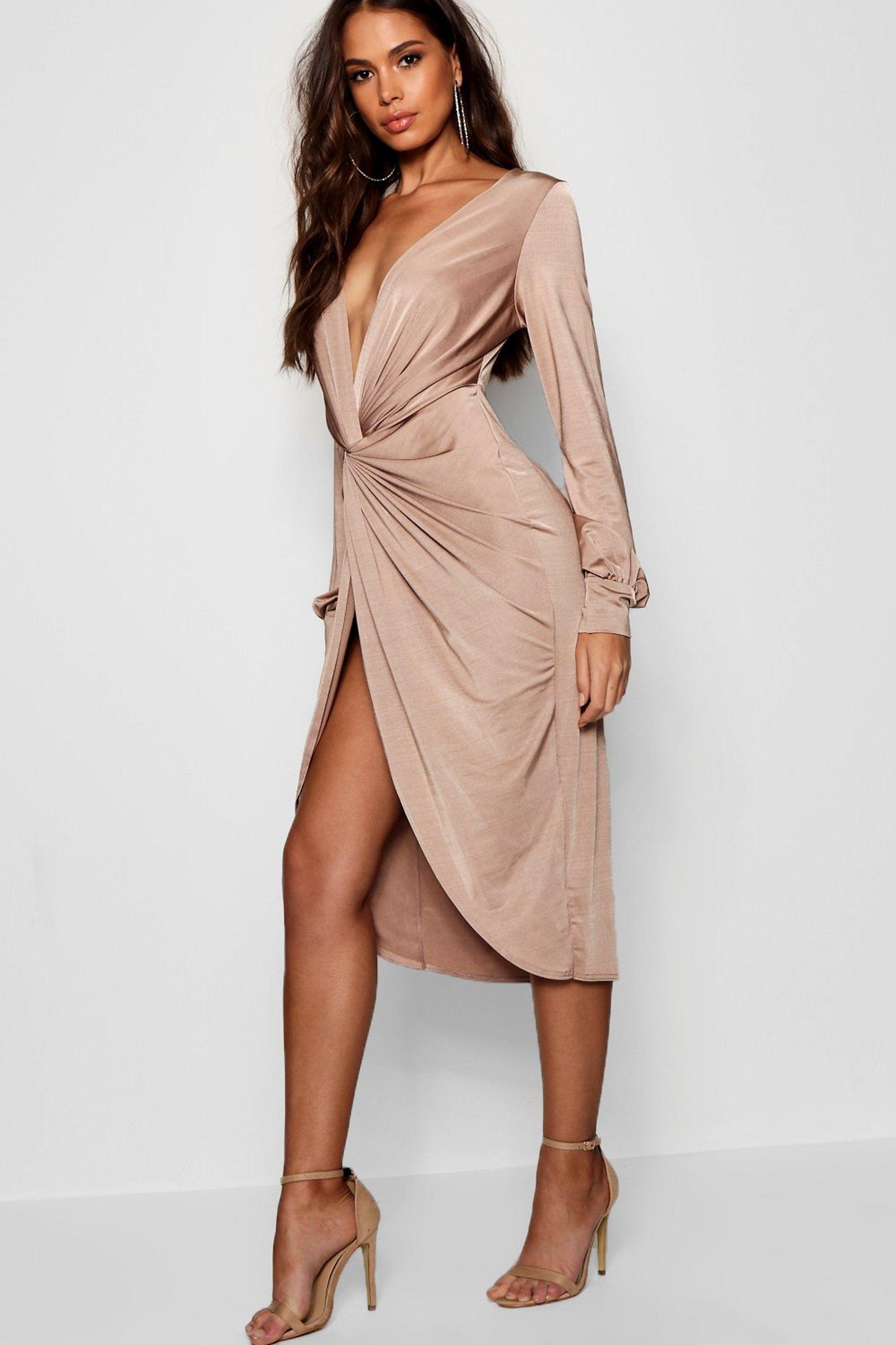 Tall Olivia Wrap Front Slinky Midi Dress Boohoo Bodycon Fashion Dresses Date Night Dresses [ 3272 x 2181 Pixel ]