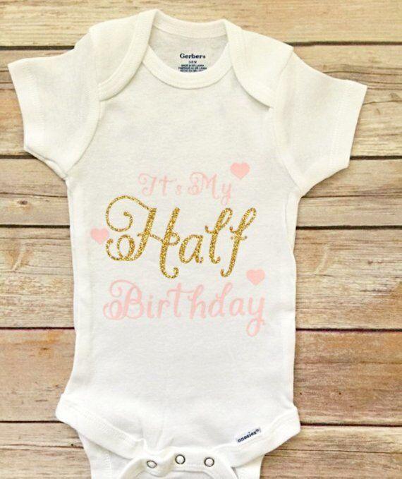 49effa26 Half Birthday Onesie, Half Birthday Outfit, 1/2 Birthday, Six Month  Birthday Onesie, Half Birthday G
