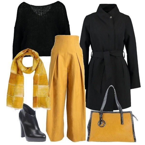 f2e75c898e295f Maglia nera corta a maniche lunghe, pantaloni a palazzo a vita alta,  stivaletti neri con tacco alto, cappotto nero con cintura in vita, borsa  con doppi ...