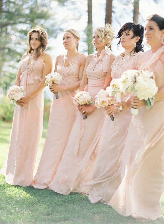 Light Pink Bridesmaid Dresses I Love That They Re All The Same Color And Length But Very Different Styles Blue And Blush Wedding Blush Wedding Bridesmaid