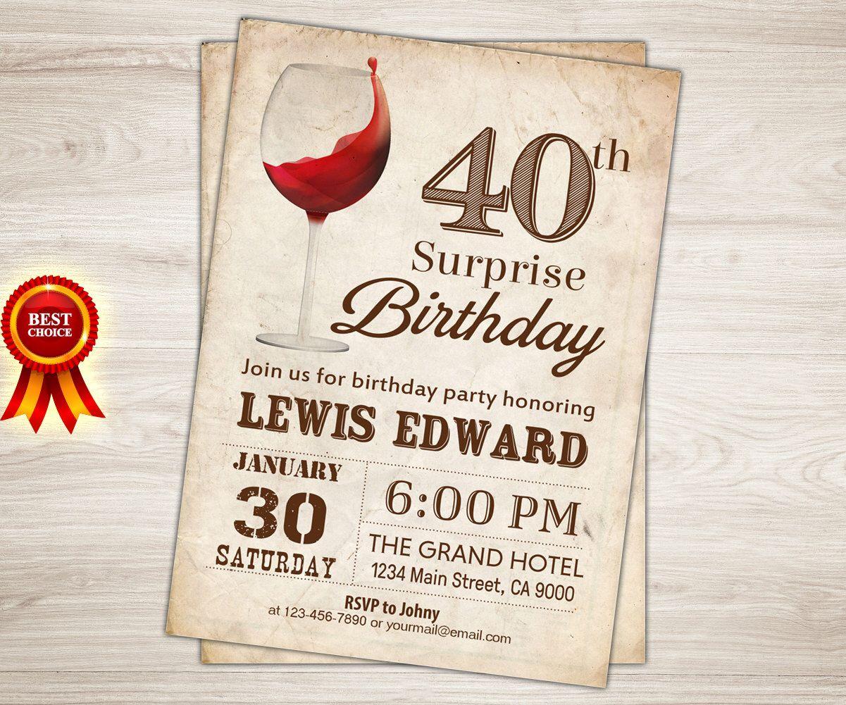 Surprise 40th Birthday Invitation for women Wine birthday ...