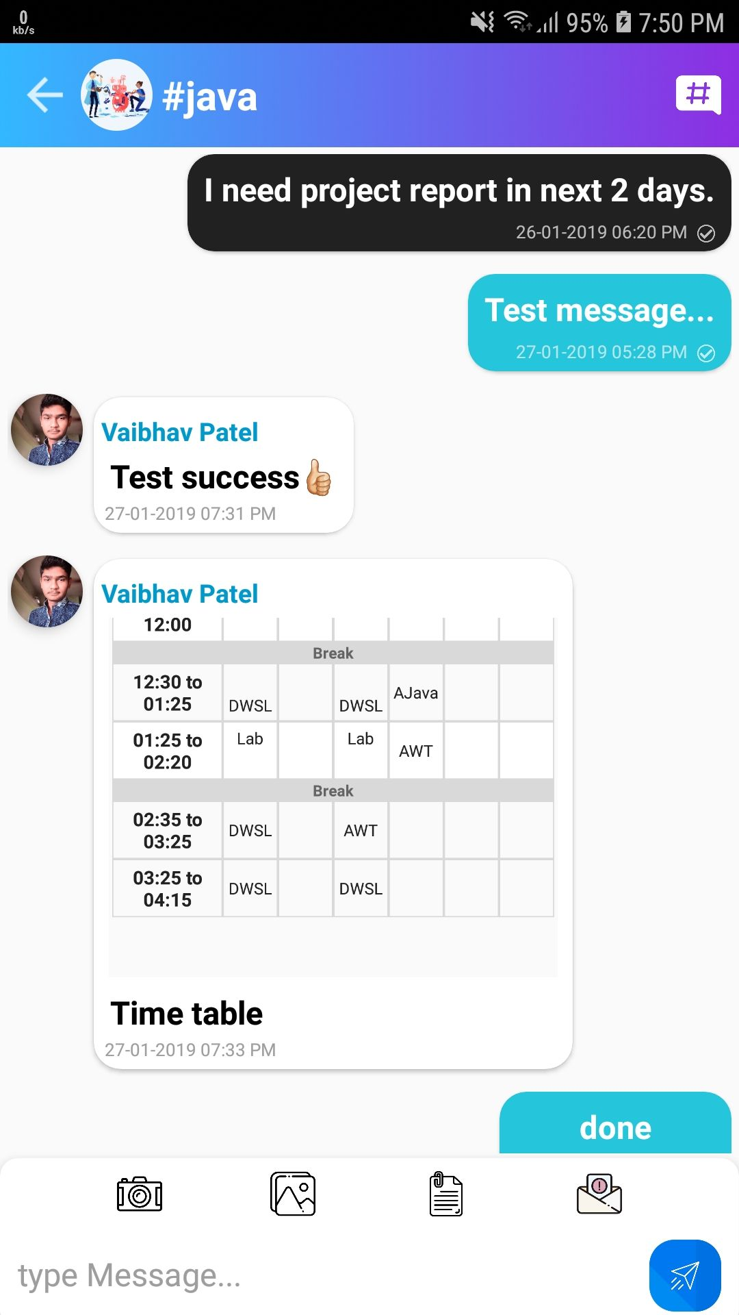 Firebase chat & team collaboration app Fteam