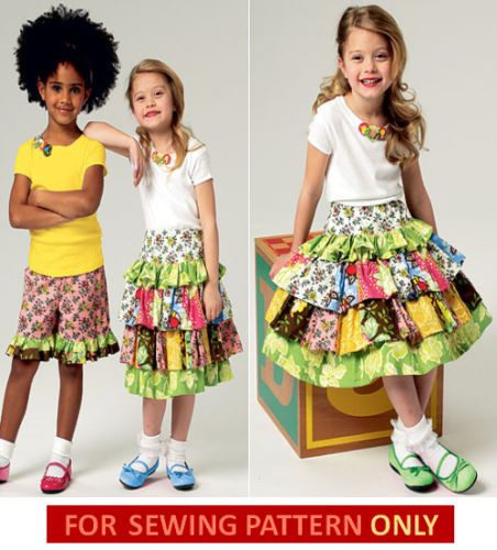 Sewing pattern! make boutique style top~skirt~shorts! sizes child 2 ...