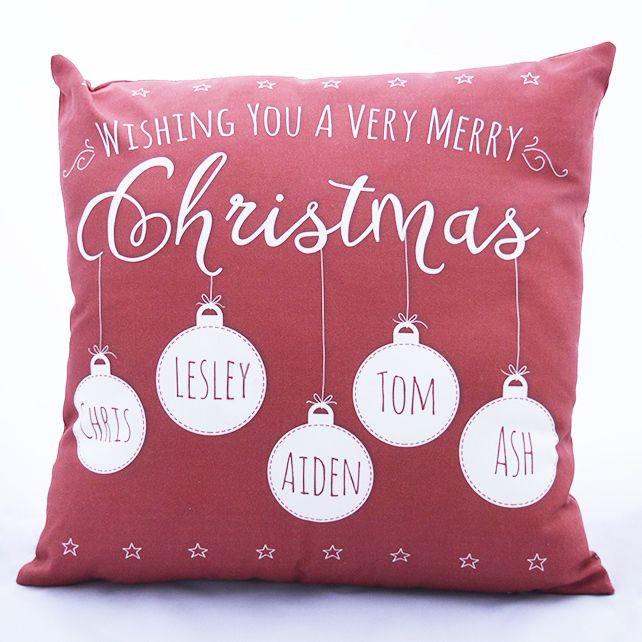 Personalised family names Christmas Cushion £22.50