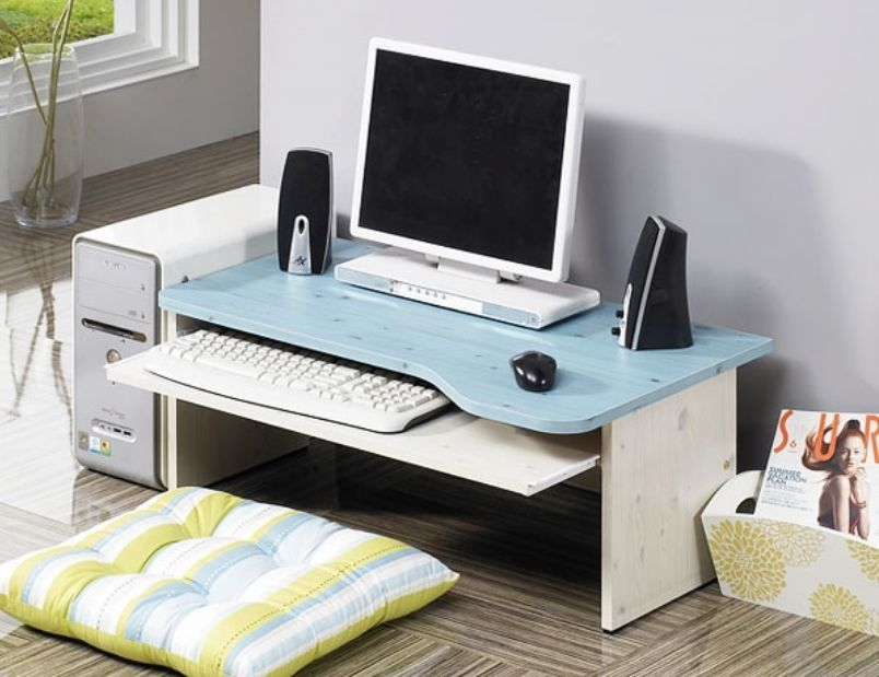 Computer Floor Table Laptop Desk Japanese Style Slide Keyboard