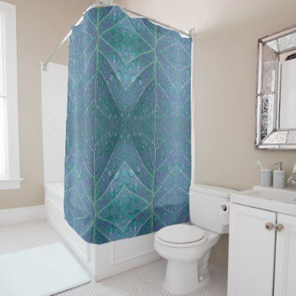 Raindrops Pattern In Blue Shower Curtain Bathroom Accessories Home Living