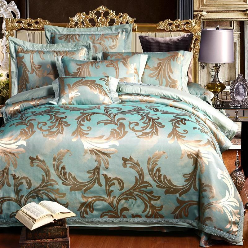 Luxury Satin Jacquard Bedding Sets Bedclothes Queen King Size Bed