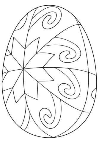 Easter Egg with Star Pattern coloring page from Easter