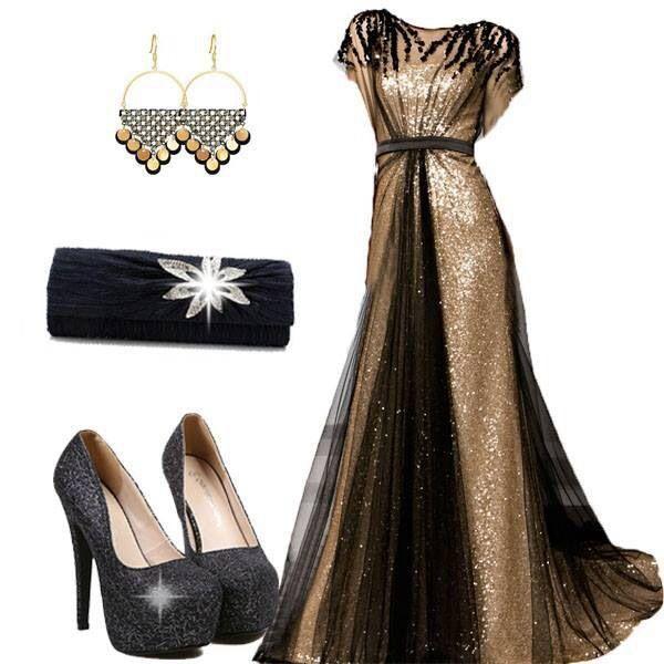 Gold & Black Evening Dress