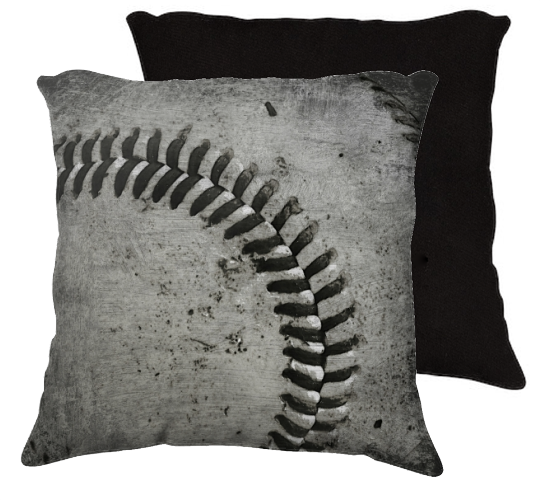 """Distressed Baseball - make with drop cloth / stain with stain and """"sew"""" the laces in"""