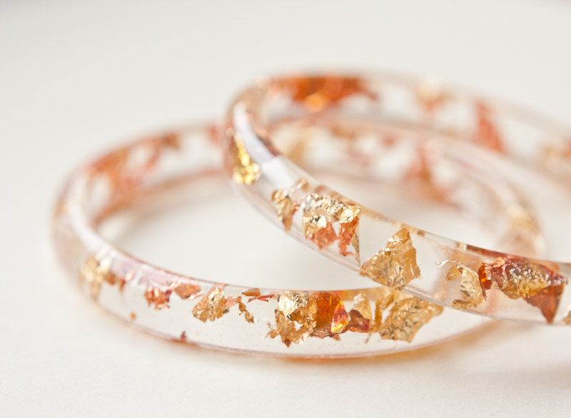 Resin Bangle Bracelet Gold Flakes Small Cuff