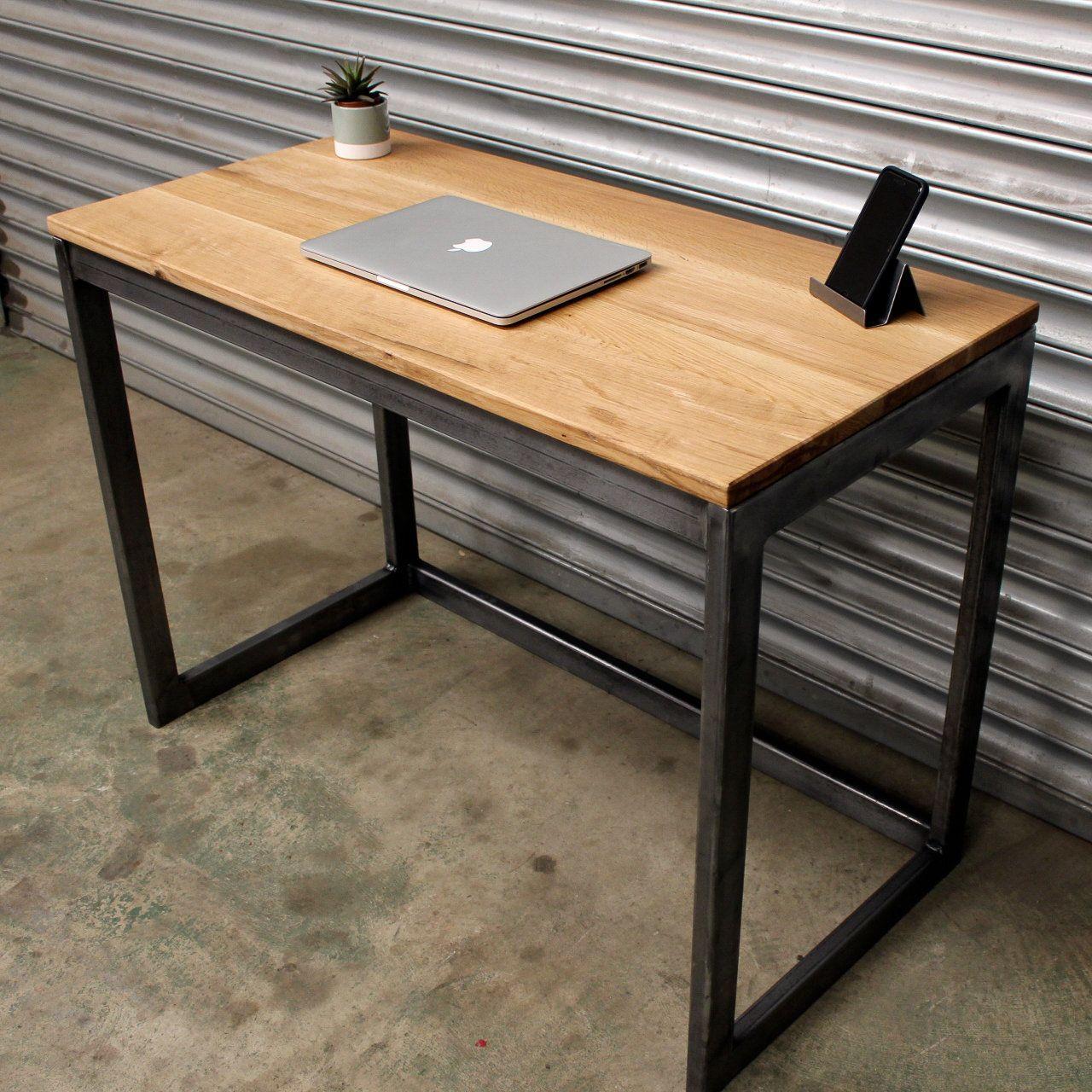 Industrial Office Wood Oak Desk With Steel Frame Industrial
