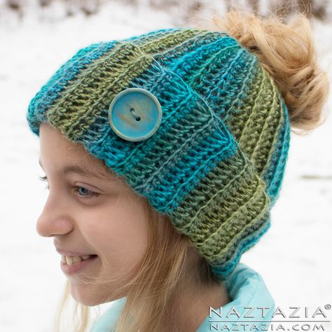 How to Crochet a Messy Bun Hat #messybunhat