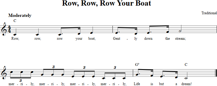 Row Row Row Your Boat Treble Clef Sheet Music For C Instruments