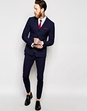 ASOS Super Skinny Four Button Suit in Navy | Suit Up | Pinterest ...