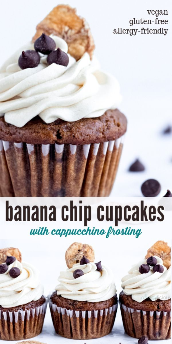 Soft And Fluffy Vegan Banana Cupcakes Sprinkled With Chocolate Chips Then Covered In A Smooth Cappuccino Frost Banana Cupcakes Gourmet Cupcakes Cupcake Recipes