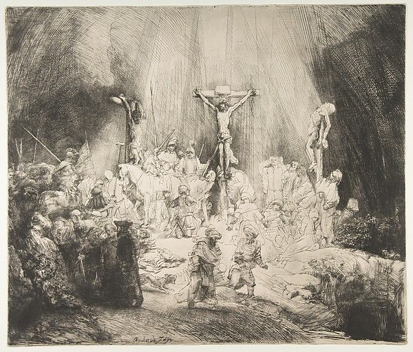 Christ Crucified between the Two Thieves: The Three Crosses Rembrandt (Rembrandt van Rijn) (Dutch, Leiden 1606–1669 Amsterdam) Date: 1653 Medium: Drypoint; third state of five Dimensions: sheet: 15 5/16 x 17 15/16 in. (38.9 x 45.6 cm) Classification: Prints Credit Line: Gift of Felix M. Warburg and his family, 1941 Accession Number: 41.1.32