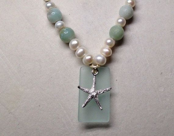 Seafoam Seaglass Amazonite and Pearls with by PearlnLeatherJewelry