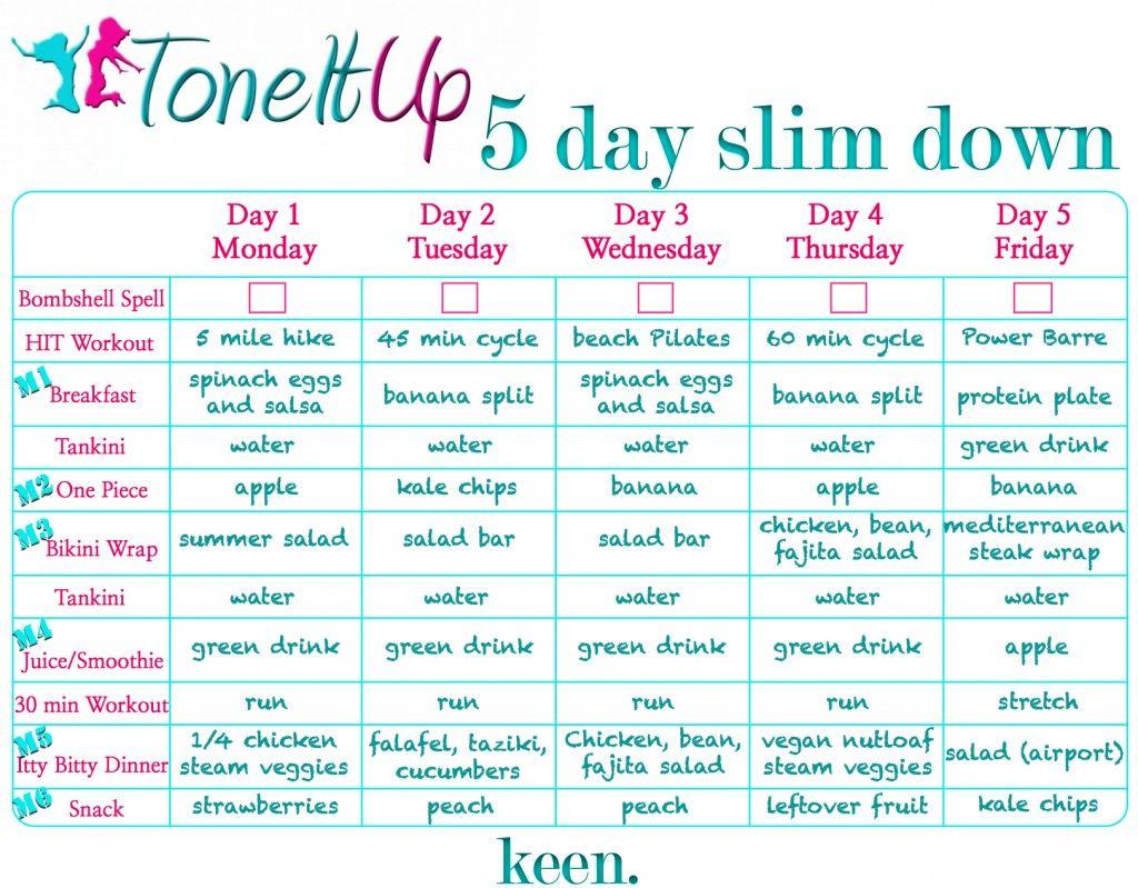 5day Jumpstart Prep How To Slim Down Tone It Up Tiu Meal Plan