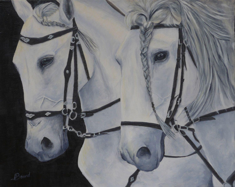 """Original horse painting by Isabelle Berard / horse duet black and white / Acrylic painting 16"""" X 20"""" de la boutique ArtStudioIsabelle sur Etsy"""